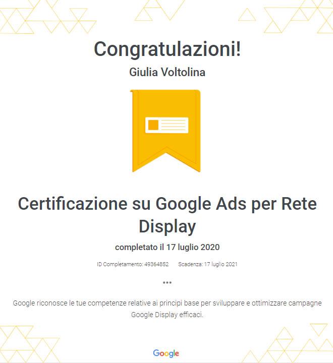 certificazione Google ads rete display
