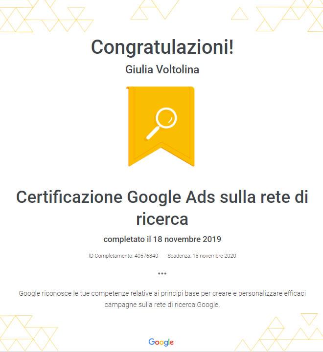 cretificazione google ads rete di ricerca
